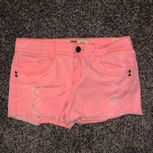 Distressed LEI Low Rise Shorts